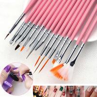 15Pcs Nail Art Painting Pen Tips Tools Kit Acrylic UV Gel Design Brush Set Hot