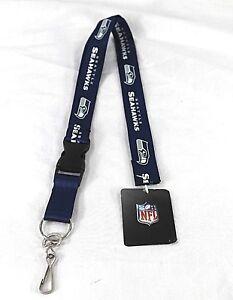 NFL Seattle Seahawks Blue White Lanyard Key Chain Detachable Buckle