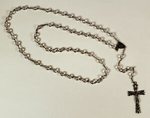 VINTAGE ITALIAN ROSARY FACETED CLEAR GLASS CRYSTAL BEADS INRI CATHOLIC RELIGIOUS