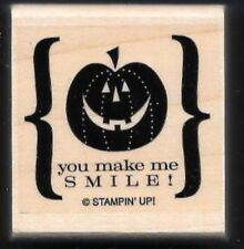 YOU MAKE ME SMILE PUMPKIN Brackets Halloween word STAMPIN UP! wood RUBBER STAMP