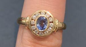 18ct Ceylon Sapphire And Diamond Halo Ring