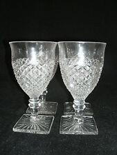 """Vtg Westmoreland ENGLISH HOBNAIL Clear 4-6"""" Water Glasses Goblets Square Base EC"""