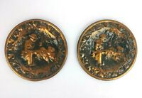 """Vintage Coppercraft Guild Copper Hunting w/ Dogs Plate & Wall Planter (2) 6 1/2"""""""