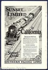 1926 SOUTHERN PACIFIC Railway advertisement Sunset Limited Steam Locomotive 4202