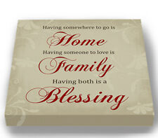Home Family Blessing Quote Stretched Canvas Wall Art Decor Wedding Gift