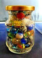 Vintage Marbles In Glass Jar Peltier, Akro Agate Jabo Marble King Cat Eyes More