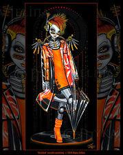 Orange Sci-Fi Fairy Android Robot Music Mohawk Decibel Signed Myka Jelina Print