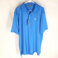 Peter Millar Blue Summer Comfort Polo Golf Shirt Size Large Mens L