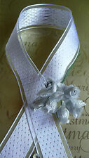 LUSSO Bianco Argento Effetto Diamante 1.5 in (ca. 3.81 cm) Filo Bordo Nastro Matrimonio Natale
