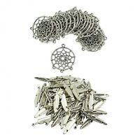 Lot 120Pcs Retro Tibetan Silver Feather Dreamcatcher Charm Pendant Connector