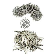 50pc Tibetan Silver Flower Pendant Bracelet Charms Jewelry Accessories P885