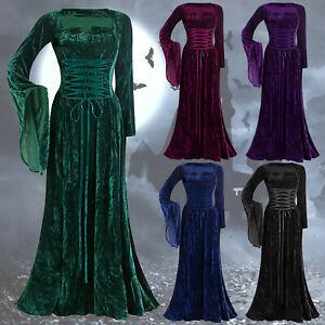 Women's Long Dress Vintage Long Sleeve Floor Length Gothic Elegant Evening Dress