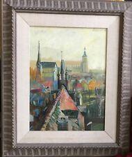 Hugo Matzenauer Surreal European City Scene Oil 1958 On Wood