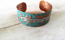 Quote Bracelet LET YOUR LIGHT SHINE Copper Cuff Bracelet Hammered Patina