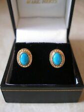 PAIR OF 9 CARAT GOLD FANCY TURQUOISE STUD EARRINGS MADE IN UK BRAND NEW IN BOX