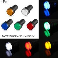 5V 12V 24V 110V 220V Signal Lamp Panel Mount LED Indicator Pilot Light 22mm