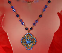 ART DECO Necklace 1930s CZECH COBALT CRYSTALS Molded Glass ADUSTABLE Unsigned