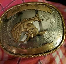 Vintage Belt Buckle German Silver Tone And Brass Oval Bronco Horse Rider