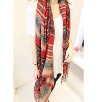 Fashion Women Girl Vintage Long Soft Cotton Voile Print Scarves Shawl Wrap Scarf