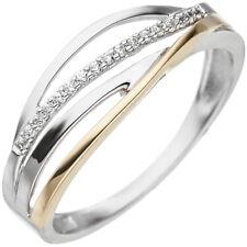 Ring mit Zirkonia weiß vier Streifen 333 Gold Weißgold Gelbgold Goldring bicolor