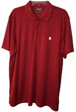 Men's  IZ IZOD Golf Shirt w/Grid Pattern Within Fabric Rich Red Size XL Epic Con