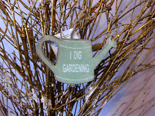 Gardening small watering can sign - gift, wooden green, rustic, NEW