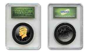 Black RUTHENIUM 2016-P Kennedy Half Dollar Coin w/ 24KT Gold in Slabbed Holder