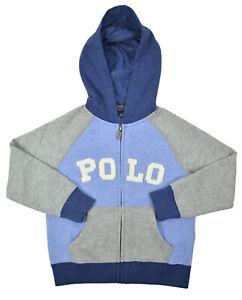 Polo Ralph Lauren Boys Blue Polo Colorblock Hoodie Sweater Medium M 10-12 9425-3