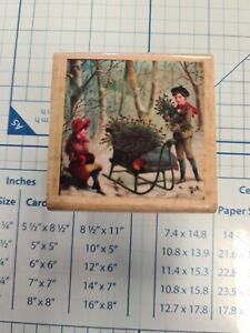 Children Collecting Holly Wooden Rubber Stamp Block
