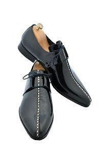 Handmade Men's Black Stingray Derby Lace Up Dress Shoes, Real Leather Shoes