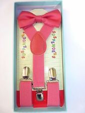 New Baby Toddler Kids Child Coral Pink Suspenders Bow Tie Gift Box Set