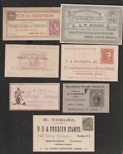 7 Different Late 1800's - Early 1900's Stamp  Dealer Business Cards