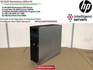 HP Z620 Workstation Xeon E5-2670 2.60GHz 32GB RAM 1TB 7.2K SATA Quadro NVS 300