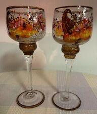 RARE Set 2 Yankee Candle Autumn Leaves Crackle Glass Tea Light Holders Unused