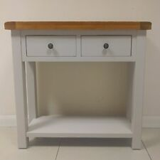 Painted Oak Console Table / Solid Grey Hallway Table / 2 Drawer / New Swainswick