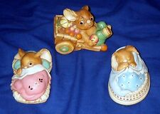 LOT OF 3 PENDELFIN  BUNNY RABBIT STONECRAFT-2 SLEEPING 1 IN A CART