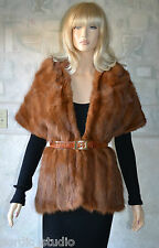 WHISKEY BROWN / RED CHINA MINK FUR STOLE, SCARF, WRAP SHAWL , 3-26