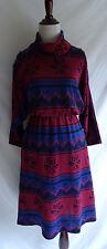 Vtg. 70's Stuart Alan Southwestern Aztec Print Knit Retro Navajo Sweater Dress