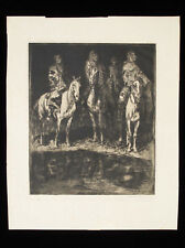 EDWARD BOREIN Signed Original Etching Native American Indian Blankets Horses