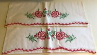 2 Pillow Cases Vintage 1950's White Pink Roses Hand Crochet Edge Cotton