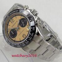 39mm PARNIS Saphirglas Date solid Full Chronograph Quarz Armbanduhren mens Watch