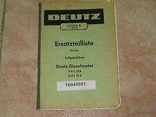 Ersatzteilliste für Deutz Dieselmotoren F4L514 und A4L514 * Ausgabe 1963 * ALT *