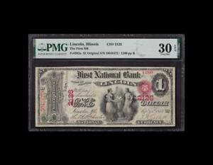 SPECTACULAR 1875 $1 FIRST CHARTER LINCOLN, IL PMG VERY FINE 30EPQ