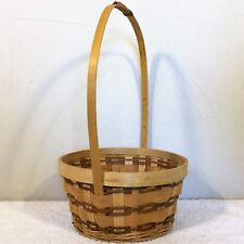 Round COUNTRY Wooden Strap WICKER BASKET Natural 2 Tone Brown Cane Gift Handle