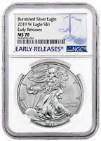 2019 W 1 oz Burnished American Silver Eagle $1 NGC MS70 ER SKU55843