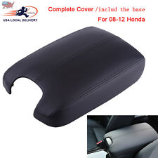 For 08-12 Honda Accord Leather Armrest Cover+Base Console Lid Complete Black Kit