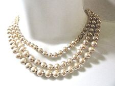 VINTAGE FAUX PEARL HAND-KNOTTED FANCY TRIPLE STRAND NECKLACE SIGNED MARVELLA
