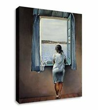 More details for salvador dali - woman standing at window  canvas wall art picture print