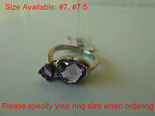 925 Sterling silver, natural(Amethyst)Ring,Size 7,7.5,Free Registered, heart,NWT