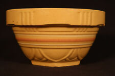 RARE SMALL SCALLOPED SALMON & WHITE BAND 6 INCH BOWL YELLOW WARE